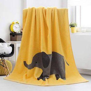 100% coton non tissé doux absorbant éléphant serviette de bain adulte enfants étudiants grande serviette de bain pour salle de bains piscine plage (Couleur : Le jaune, taille : 140cm*70cm) de la marque YANHTSO image 0 produit