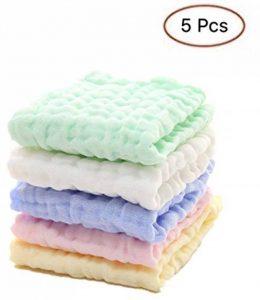 5 PCS bébé serviette carrée en tissu lavé 6 couches pour bébé Serviette infantile de salive pour bébé Serviette de toilette pour bébé de la marque DY_Jin image 0 produit