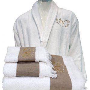 5étoiles Top Qualité hôtel Édition Blanc Set Peignoir, serviettes de bain personnalisé–Ref. Lin, 100 % coton, blanc, Taille L de la marque BgEurope image 0 produit