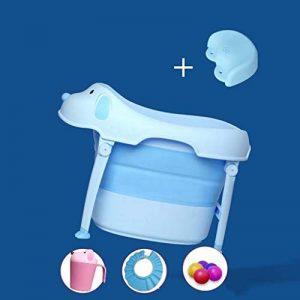 A~LICE&YGG Grande Baignoire Pliable pour bébé, Baignoire pour bébé pouvant s'asseoir sur Le lit des Enfants avec Seau pour bébé,Blue de la marque A~LICE&YGG image 0 produit