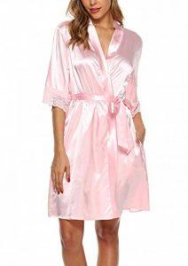 ABirdon Peignoir Satin Soie Robe de Chambre Femme Oblique Col V Court Kimono Robe de Demoiselle de la marque ABirdon image 0 produit