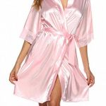 ABirdon Peignoir Satin Soie Robe de Chambre Femme Oblique Col V Court Kimono Robe de Demoiselle de la marque ABirdon image 3 produit