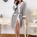 Abollria Femme Robe de Chambre Kimono Tissage Gaufré Coton Peignoir de Bain Waffle l'hôtel Spa Sauna Patchwork De Nuit Spa Robe de Nuit de la marque Abollria image 3 produit
