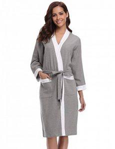 Abollria Femme Robe de Chambre Kimono Tissage Gaufré Coton Peignoir de Bain Waffle l'hôtel Spa Sauna Patchwork De Nuit Spa Robe de Nuit de la marque Abollria image 0 produit