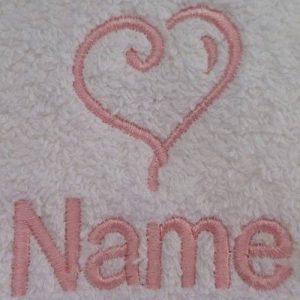 Adulte Peignoir de bain avec logo de cœur et nom de votre choix en blanc, taille M, L, XL ou XXL, blanc, Taille M de la marque EFY image 0 produit