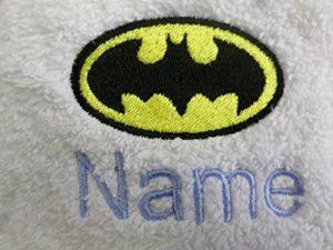 Adulte Peignoir de bain avec un Logo de Batman et nom de votre choix en blanc, taille M, L, XL ou XXL, blanc, Taille M de la marque EFY image 0 produit