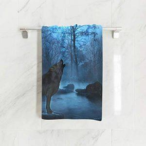 Ahomy Essuie-Mains 38 cm x 76 cm Loup Night Forest Pagoda Serviettes Extra absorbantes pour Le Bain, Les Mains, Le Visage, la Salle de Gym et Le Spa de la marque Ahomy image 0 produit