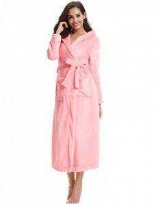 Aibrou Chapeau Robe de Chambre Femme Polaire Longue Peignoir Velours Hiver Sortie de Bain Kimonos Peignoir personnalisé Cadeau de noël Femme de la marque Aibrou image 0 produit