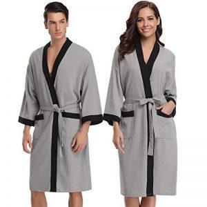 Aibrou Femme Homme Kimono Tissage Gaufré Peignoir de Bain Unisexe Coton Waffle Robe de Chambre col V Pyjama pour l'hôtel Spa Sauna Vêtements de Nuit de la marque Aibrou image 0 produit