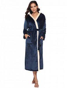 Aibrou Femme Peignoir Polaire à Capuche avec 2 Poches Hiver Peignoir de Bain Flanelle Robe de Nuit Flanelle de la marque Aibrou image 0 produit