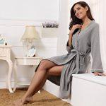 Aibrou Peignoir Nid d'abeille Homme Robe de Chambre Coton Femme Kimono Tissage Gaufré Unisexe Waffle col V pour l'hôtel Spa Sauna Vêtements de Nuit de la marque Aibrou image 1 produit