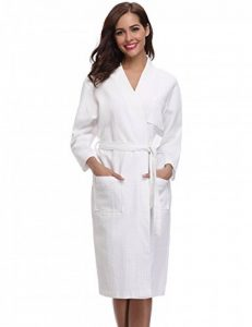 Aibrou Robe de Chambre Kimono Tissage Gaufré Femme Coton Waffle Peignoir de Bain Légère col V Unisexe Pyjama pour l'hôtel Spa Sauna Vêtements de Nuit de la marque Aibrou image 0 produit