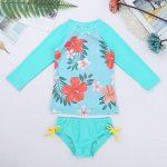 Alvivi Ensemble 2Pc Maillot de Bain Bébé Fille Bikini Florale Haut T-Shirt + Culotte de Bain Bikini de Nataion Plage Vacances Printemps Eté 3 Mois-4 Ans de la marque Alvivi image 2 produit