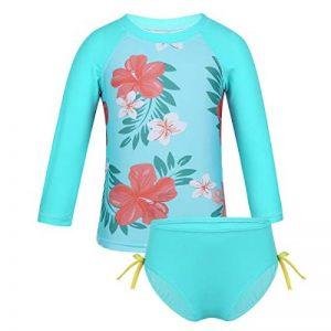 Alvivi Ensemble 2Pc Maillot de Bain Bébé Fille Bikini Florale Haut T-Shirt + Culotte de Bain Bikini de Nataion Plage Vacances Printemps Eté 3 Mois-4 Ans de la marque Alvivi image 0 produit