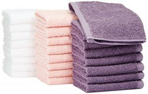 AmazonBasics Lot de 24 petites serviettes en coton 30 x 30 cm Lavande, Rose poudré, Blanc de la marque AmazonBasics image 0 produit