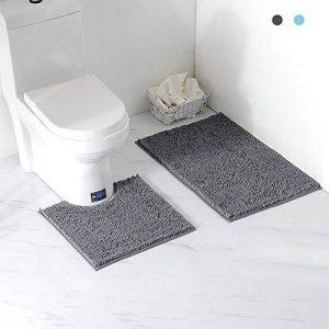 Arkmiido Ensemble Tapis de Bain/Carpettes de Toilette 2 Pièces, Tapis Doux Absorbant Antidérapant Epais en Chenille pour la Salle de Bain/WC,Lavable en Machine (Gris) de la marque Arkmiido image 0 produit