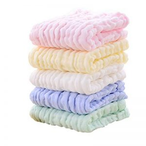 Baby Wash Cloths - Lingettes en coton pour bébé en mousseline naturelle Leepem baby- Serviette et débarbouillettes pour bébé doux et oranic pour nouveau-né pour peau sensible ( 5 Pack) de la marque Leepem baby image 0 produit