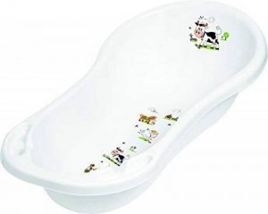Baignoire Bébé XXL 100 cm avec Bouchon Funny Farm Blanc Baignoire pour Bébé Baignoire de la marque KiNDERWELT image 0 produit