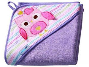 Bain à Capuche éponge 7316/serviette capuche enfant 100 x 100 cm (pourpre/hibou) de la marque Babyono image 0 produit