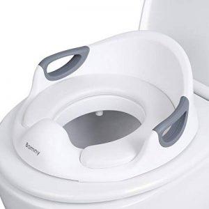 BAMNY Bébé Réducteur de Toilette, Rehausseur WC Enfant Siège de Toilette Avec Coussin Poignée Dossier, Conception Antidérapants ergonomique (blanc) de la marque Bamny image 0 produit