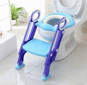 BAMNY Siège de Toilette Enfant Pliable et Réglable, Reducteur de Toilette Bébé avec Marches Larges, Lunette de Toilette Confortable Matériaux de Haute Qualité (Bleu) de la marque Bamny image 0 produit