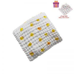 Bébé Mousseline Serviettes de Bain, Morbuy 100% Coton 6 Couches Chaud Bébé Serviettes Impression Naturel Antibactérien doux Confortable Sain Couverture (105x105cm, Soleil) de la marque Morbuy image 0 produit
