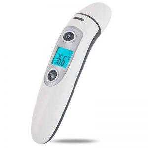 Bebe Thermometre, Medical Numerique Infrarouge Frontal et Oreille Thermometre pour Bebe, Enfant, Adulte en 1 seconde de Temps de Mesure, avec Memoire et Avertisseur de Fievre et Retro-eclaire de la marque Hkiytime image 0 produit