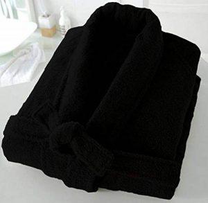 bella casa Casabella Uni Sex 100% Coton 500g/m² en éponge col châle Peignoir de Bain Robe de Chambre, Coton, Noir, Small/Medium de la marque bella-casa image 0 produit