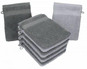 BETZ Lot de 10 Gants de Toilette Taille 16x21 cm 100% Coton Premium Couleur Gris argenté, Gris Anthracite de la marque BETZ image 0 produit