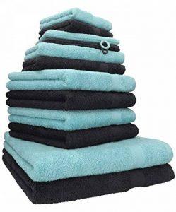 BETZ Lot de 12 Serviettes Premium 2 draps de Bain 4 Serviettes de Toilette 2 Serviettes d'invité 2 lavettes 2 Gants de Toilette 100% Coton Couleur Graphite et Bleu océan de la marque BETZ image 0 produit