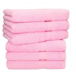 BETZ Lot de 6 Serviettes de Toilette Taille 50x100 cm 100% Coton Palermo Couleur Rose de la marque BETZ image 0 produit
