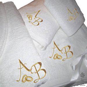 BgEurope 5étoiles Top Qualité personnalisé Cadeau de Mariage Anniversaire–Lot de Serviettes de Bain et Peignoir de Bain avec Doré à Broder, 100% Coton, Blanc, Taille L de la marque BgEurope image 0 produit