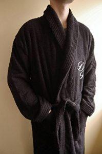 BgEurope personnalisé Monogramme col châle Coton éponge Peignoir de Bain Noir, 100% Coton, Noir, Taille M de la marque BgEurope image 0 produit