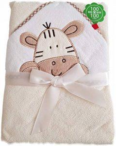 BlueberryShop Serviette de bain à capuche en coton brodé pour bébé ou enfant 0-8 ans 100 x 100 cm, crème, 100 x 100 cm de la marque BlueberryShop image 0 produit