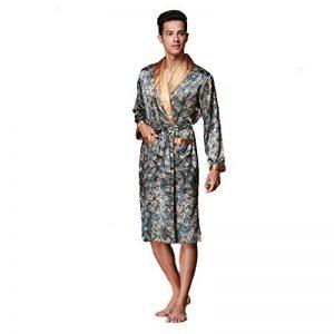 BOYANN Robes de Chambre Kimonos Homme Satin Chemises de Nuit Longues Peignoirs de Bain de la marque BOYANN image 0 produit