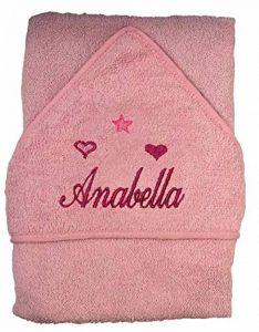 brodée Serviette de bain à capuche bébé personnalisé avec nom garçon fille de la marque art2tshirt image 0 produit