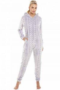 Camille Combinaison Pyjama en Polaire très Douce Capuche/Fermeture Éclair Motif tressé - Gris de la marque Camille image 0 produit