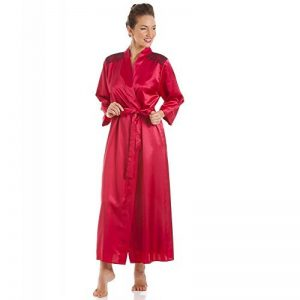 Camille Robe de Chambre en Satin - Broderies - Rouge/Noir de la marque Camille image 0 produit