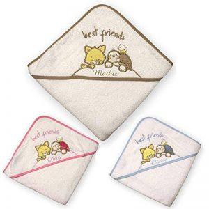 cape de bain animaux brodée et personnalisée avec un prénom, bébé enfant fille garçon 72x72cm, éponge, cadeau naissance, bapteme de la marque N/D image 0 produit