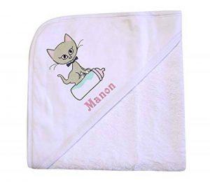 cape de bain chat personnalisée avec un prénom, bébé enfant fille garçon 72x72cm, éponge, cadeau naissance, bapteme de la marque N/D image 0 produit