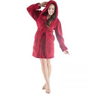CelinaTex Korfu Peignoir De Bain Capuche De Couleur Unie Court Poches Latérales Femme Sherpa Polaire XS-XXXL de la marque CelinaTex image 0 produit