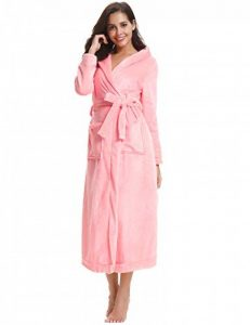Chapeau Robe de Chambre Femme Polaire Longue Peignoir Velours Hiver Sortie de Bain Kimonos Peignoir personnalisé Cadeau de noël Femme de la marque Aibrou image 0 produit