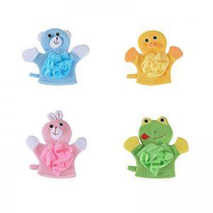 Cikuso 4 Soft-Pack Bain De Bébé Gants Canard Mignon Cartoon Animaux/Chien/Lapin/Grenouille Body Mitaines pour Nouveau-Né Tout-Petits Enfants Enfants de la marque Cikuso image 0 produit