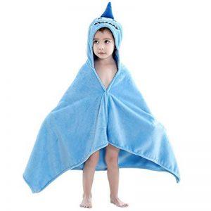 COOKY.D Serviettes de Bain Bébé, 100% Coton Animaux Peignoir Sortie de Bain pour Bébé, Nouveau-nés ou Nourrissons,60X120 cm, Requin de la marque COOKY.D image 0 produit