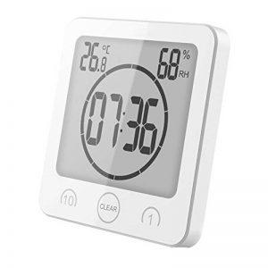 Coomir Réveil thermomètre douche ventouse compte à rebours minuterie portable étanche pour salle de bains (white-prime) de la marque Coomir image 0 produit