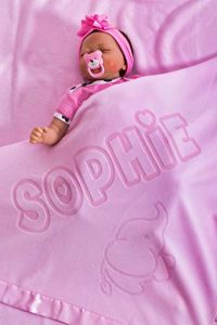 Couverture bébé personnalisée au nom de bébé pour nouveau-nés Couverture respirante pour garçons et filles, Taille 88x88CM (Eléphant/Rose) de la marque AIGAT image 0 produit