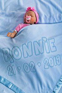 Couverture De Bebe Personnalisee Pour Lit De Bebe, Cadeau Pour Bebe Ou Parents, Taille 88x88cm (Bleu) de la marque AIGAT image 0 produit