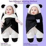 Couverture nouveau-né bébé hiver Wrap, unisexe sac de couchage portable recevant la couverture, coton polaire poussette berceau sommeil sac (0-3M, Black) de la marque Haokaini image 1 produit
