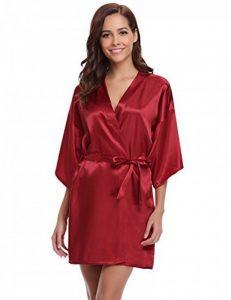 Damen Morgenmantel Kimono Satin Kurz Robe Bademantel Nachtwäsche de la marque Aibrou image 0 produit