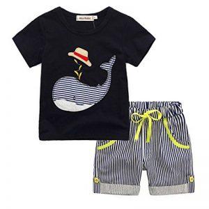 DAY8 Vetement Garçon 1 à 7 Ans Ensemble Enfants Garçon Pyjama Garçon Été Pas Cher Chemisier Garçon Manche Courte Blouse Haut Top Garçon T-Shirt Baleine de Dessin animé + Bermuda de la marque DAY8 image 0 produit